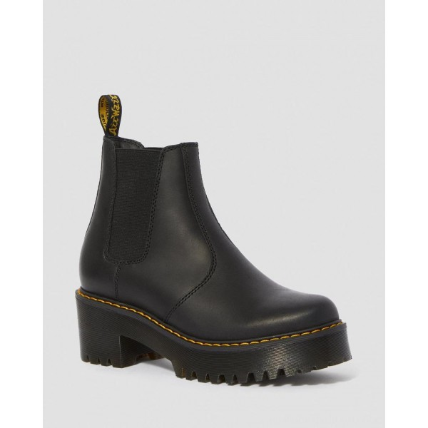 Dr.Martens ROMETTY WOMEN'S LEATHER PLATFORM CHELSEA BOOTS - BLACK BURNISHED WYOMING - Sale