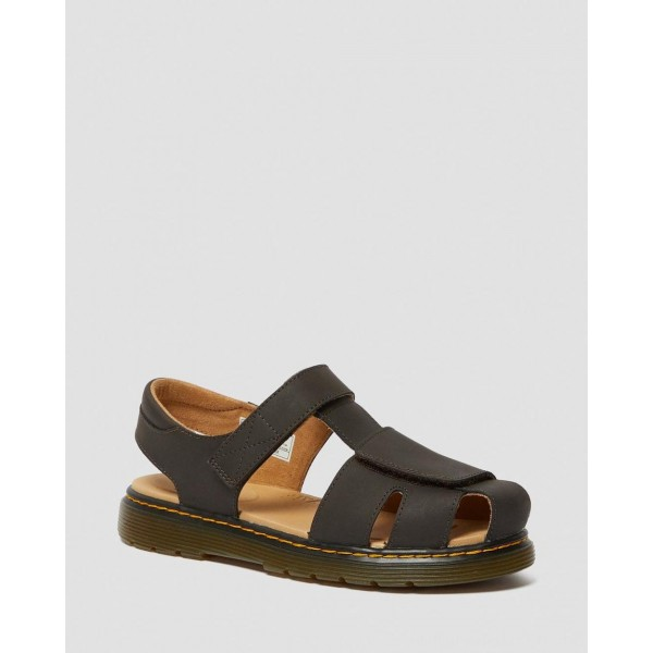 Black Friday Sale Dr. Martens YOUTH MOBY II WILDHORSE LEATHER VELCRO SANDALS - GAUCHO WILDHORSE LAMPER