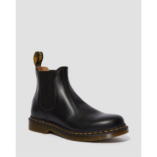 Dr.Martens 2976 YELLOW STICH SMOOTH LEATHER CHELSEA BOOTS - BLACK SMOOTH - Sale