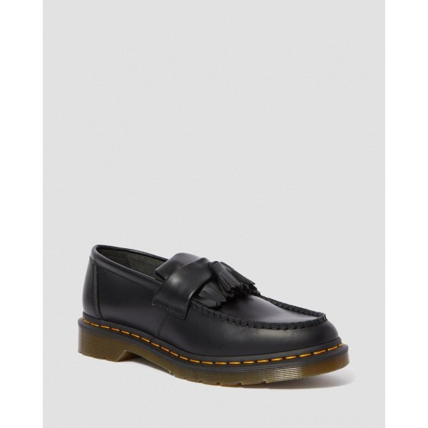Black Friday Sale Dr. Martens ADRIAN YELLOW STITCH LEATHER TASSEL LOAFERS - BLACK SMOOTH