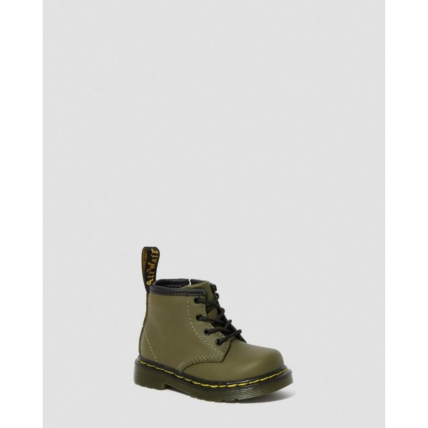 INFANT 1460 LEATHER LACE UP BOOTS - DMS OLIVE ROMARIO