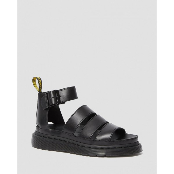 Dr.Martens CLARISSA II WOMEN'S LEATHER STRAP SANDALS - BLACK BRANDO - Sale
