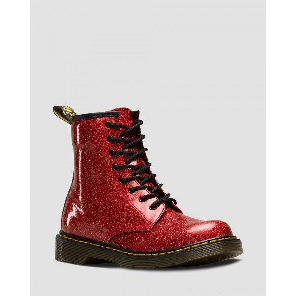 YOUTH 1460 GLITTER LACE UP BOOTS - RED MULTI COATED GLITTER