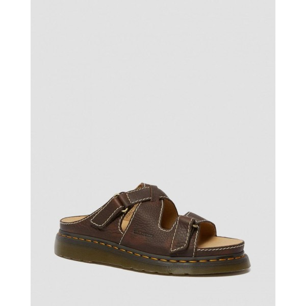 Dr.Martens BRADFIELD RUGGED LEATHER STRAP SANDALS - DARK BROWN GRIZZLY - Sale