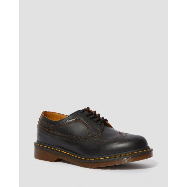 Dr.Martens 3989 VINTAGE MADE IN ENGLAND BROGUE SHOES - BLACK QUILON - Sale