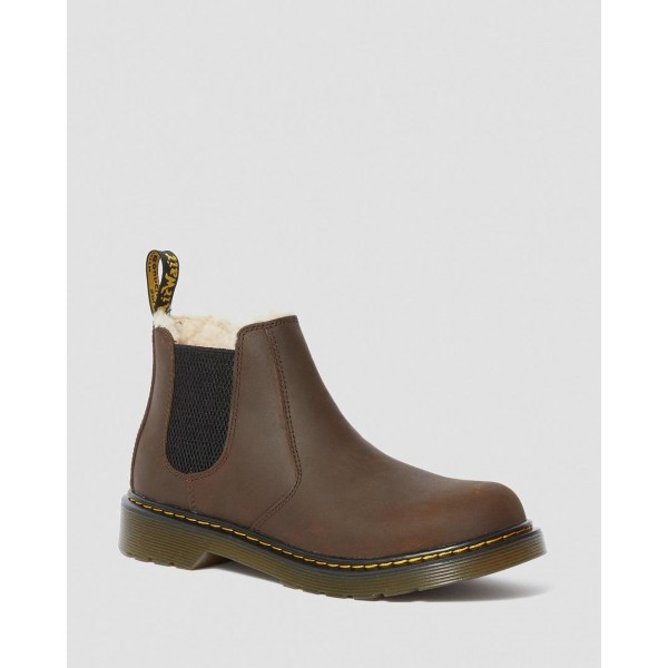 Black Friday Sale Dr. Martens YOUTH 2976 FAUX FUR LINED CHELSEA BOOTS - DARK BROWN REPUBLIC WP