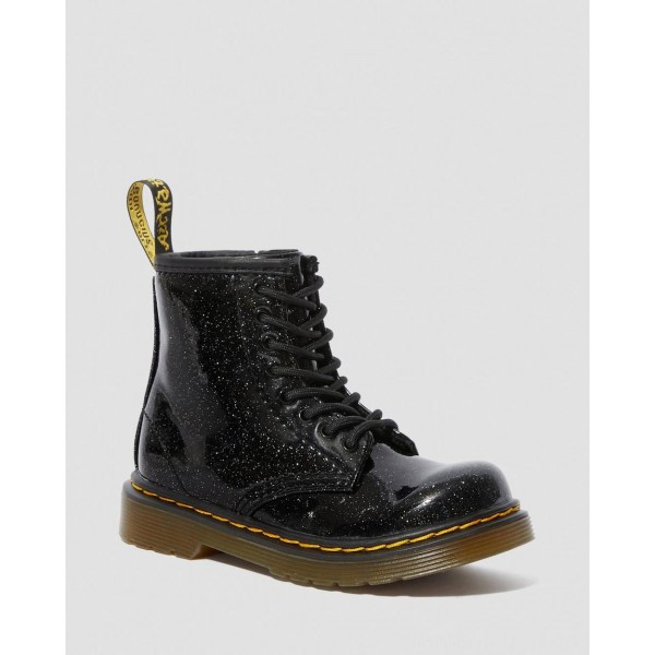 Dr.Martens TODDLER 1460 GLITTER LACE UP BOOTS - BLACK COATED GLITTER - Sale