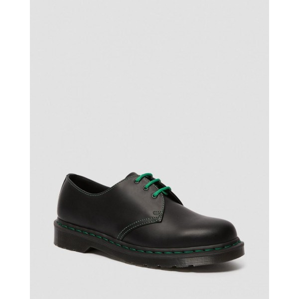 Black Friday Sale Dr. Martens 1461 CONTRAST STITCH SMOOTH LEATHER OXFORD SHOES - BLACK SMOOTH