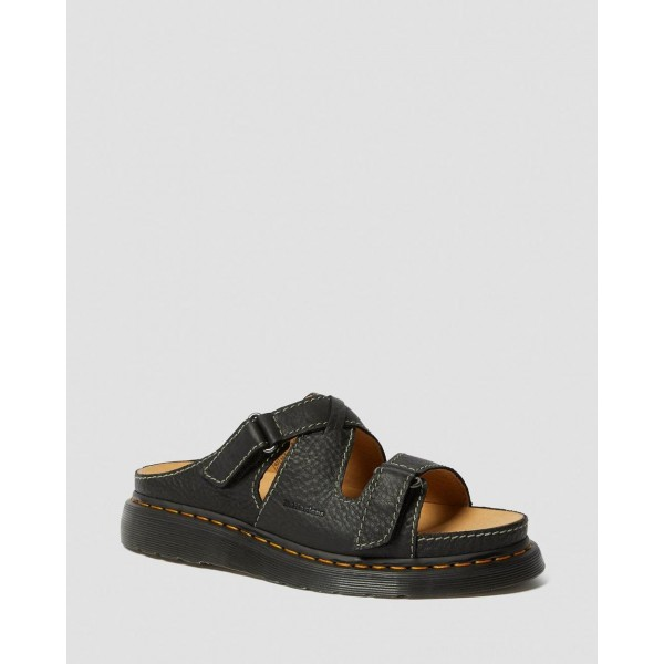 Dr.Martens BRADFIELD RUGGED LEATHER STRAP SANDALS - BLACK GRIZZLY - Sale