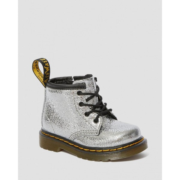 Dr.Martens INFANT 1460 CRINKLE METALLIC LACE UP BOOTS - SILVER CRINKLE METALLIC - Sale