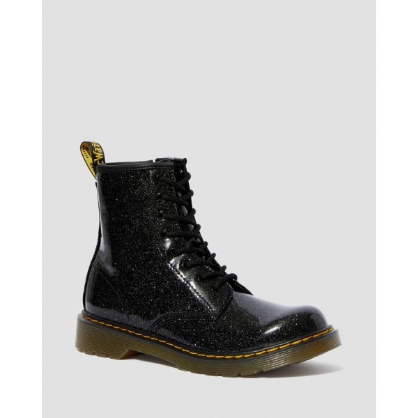 YOUTH 1460 GLITTER LACE UP BOOTS - BLACK COATED GLITTER