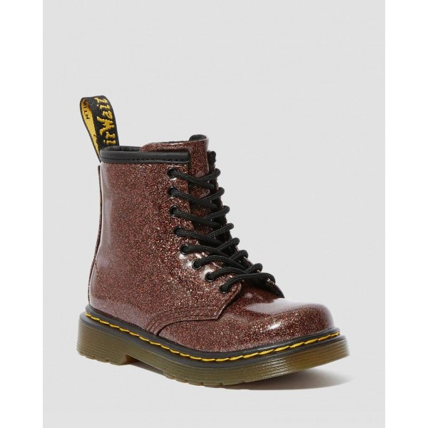 Dr.Martens TODDLER 1460 GLITTER LACE UP BOOTS - ROSE BROWN COATED GLITTER - Sale