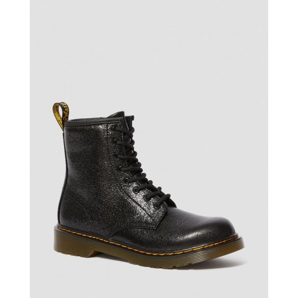 Black Friday Sale Dr. Martens YOUTH 1460 CRINKLE METALLIC LACE UP BOOTS - BLACK CRINKLE METALLIC