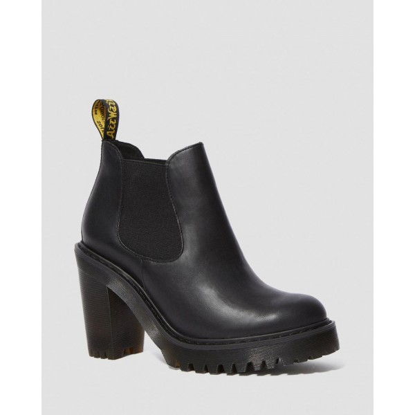 Black Friday Sale Dr. Martens HURSTON WOMEN'S LEATHER HEELED CHELSEA BOOTS - BLACK SENDAL