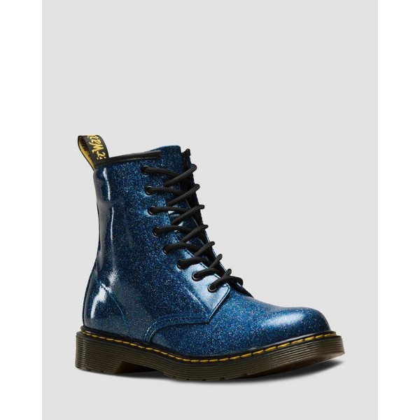 Dr.Martens YOUTH 1460 GLITTER LACE UP BOOTS - BLUE COATED GLITTER - Sale