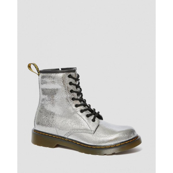 Black Friday Sale Dr. Martens YOUTH 1460 CRINKLE METALLIC LACE UP BOOTS - SILVER CRINKLE METALLIC