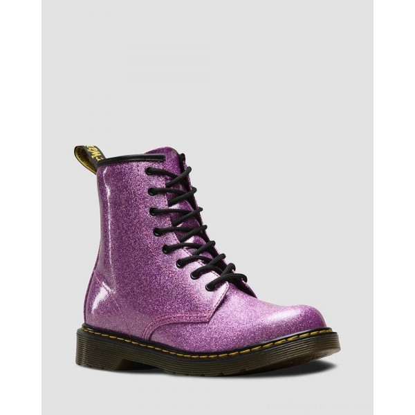 Dr.Martens YOUTH 1460 GLITTER LACE UP BOOTS - DARK PINK COATED GLITTER - Sale