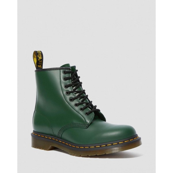 Black Friday Sale Dr. Martens 1460 SMOOTH LEATHER LACE UP BOOTS - GREEN SMOOTH