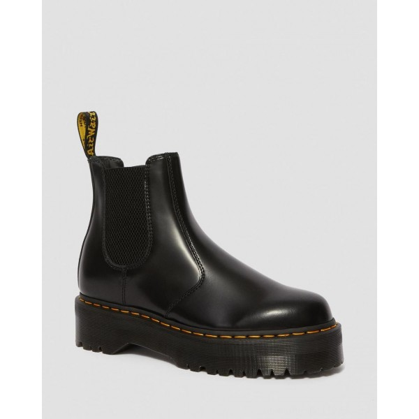 Black Friday Sale Dr. Martens 2976 POLISHED SMOOTH PLATFORM CHELSEA BOOTS - BLACK POLISHED SMOOTH