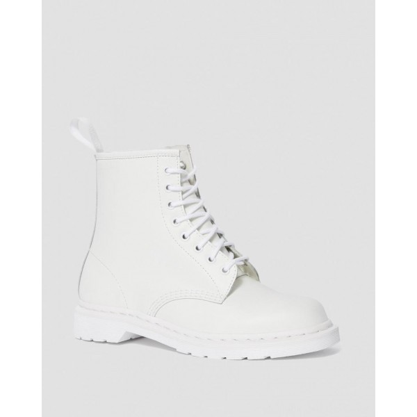 Black Friday Sale Dr. Martens 1460 MONO SMOOTH LEATHER LACE UP BOOTS - WHITE SMOOTH