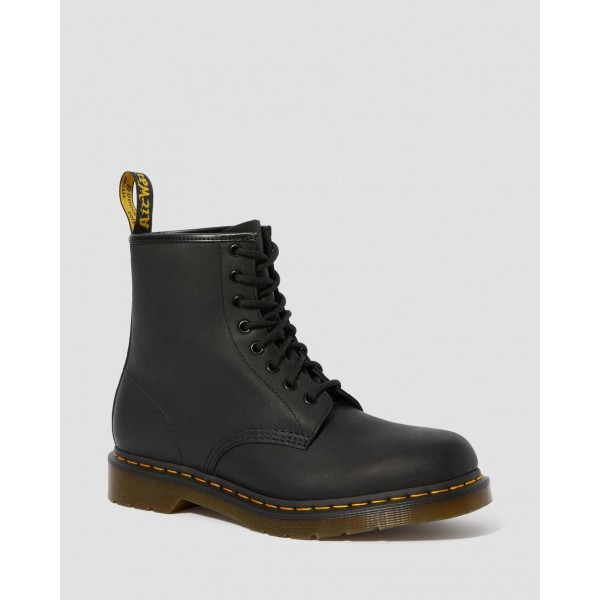 Black Friday Sale Dr. Martens 1460 GREASY LEATHER LACE UP BOOTS - BLACK GREASY