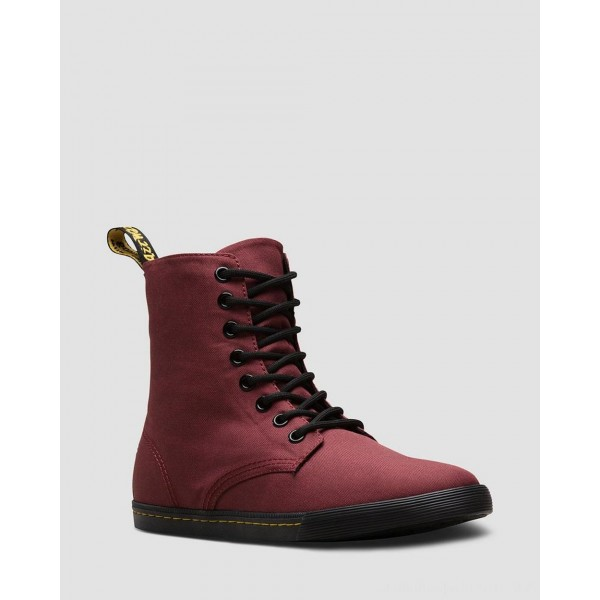 Dr.Martens YOUTH SHERIDAN CASUAL CANVAS BOOTS - CHERRY RED T CANVAS - Sale