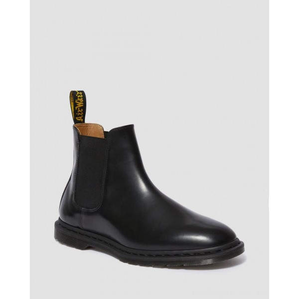 GRAEME II MEN'S SMOOTH LEATHER CHELSEA BOOTS - BLACK POLISHED SMOOTH
