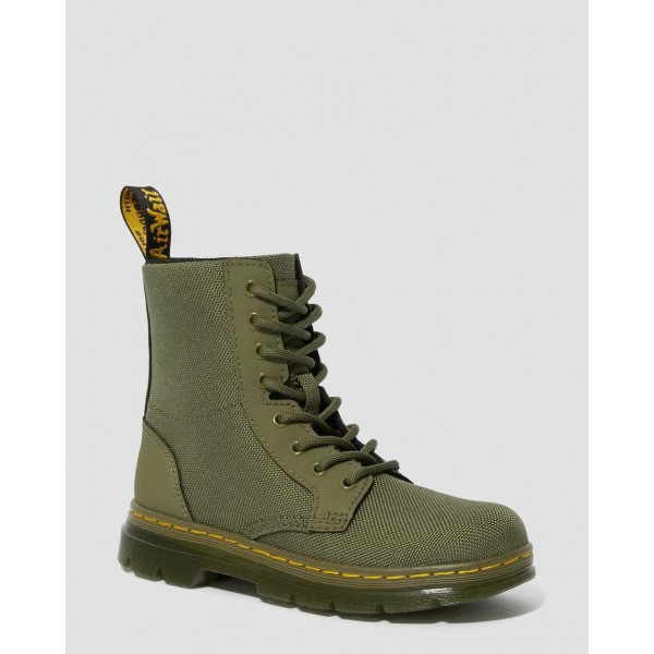 Black Friday Sale Dr. Martens JUNIOR COMBS EXTRA TOUGH POLY CASUAL BOOTS - DMS OLIVE EXTRA TOUGH POLY+RUBBERY