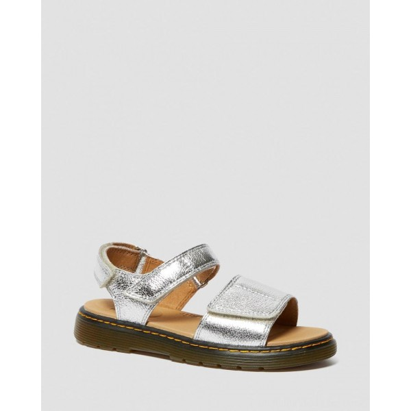 Dr.Martens YOUTH ROMI METALLIC LEATHER VELCRO SANDALS - SILVER CRINKLE METALLIC - Sale