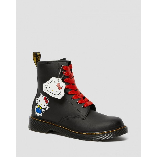 YOUTH 1460 HELLO KITTY LEATHER BOOTS - BLACK HYDRO LEATHER