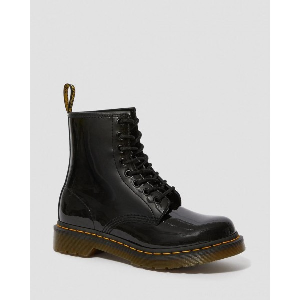 Black Friday Sale Dr. Martens 1460 WOMEN'S PATENT LEATHER LACE UP BOOTS - BLACK PATENT LAMPER