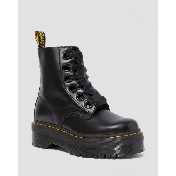 Dr.Martens MOLLY WOMEN'S LEATHER PLATFORM BOOTS - BLACK BUTTERO - Sale