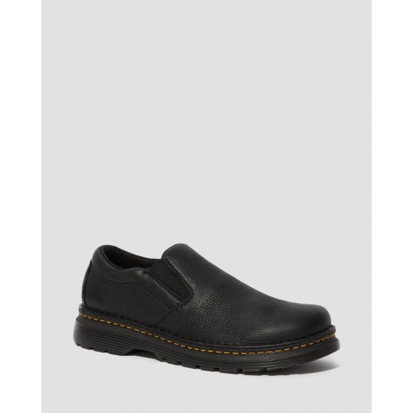 Black Friday Sale Dr. Martens BOYLE MEN'S GRIZZLY LEATHER SLIP ON SHOES - BLACK GRIZZLY