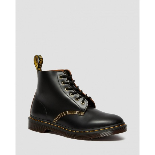 Dr.Martens 101 VINTAGE SMOOTH LEATHER ANKLE BOOTS - BLACK VINTAGE SMOOTH - Sale