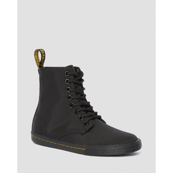Black Friday Sale Dr. Martens JUNIOR SHERIDAN CANVAS CASUAL BOOTS - BLACK T CANVAS