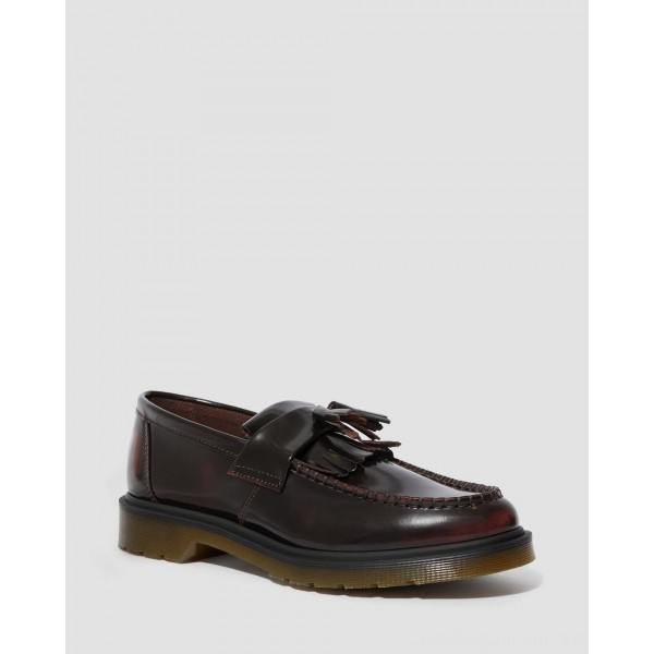 Dr.Martens ADRIAN ARCADIA LEATHER TASSLE LOAFERS - CHERRY RED ARCADIA - Sale
