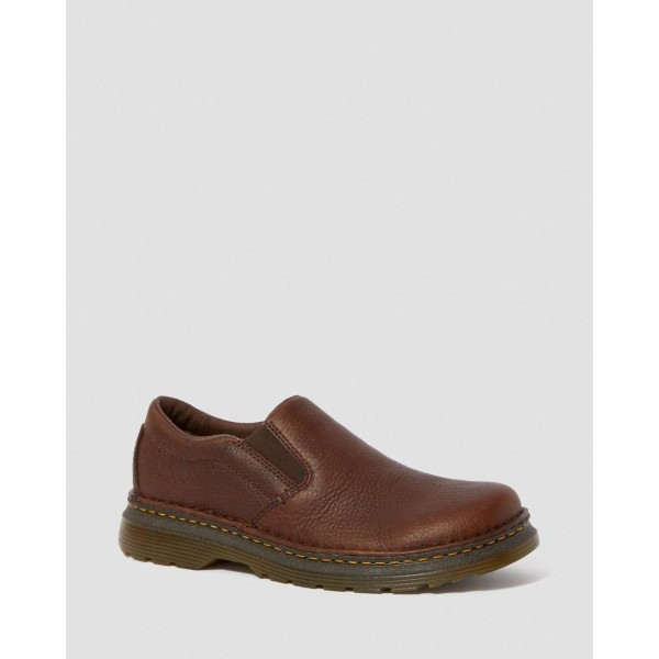 Black Friday Sale Dr. Martens BOYLE MEN'S GRIZZLY LEATHER SLIP ON SHOES - DARK BROWN GRIZZLY