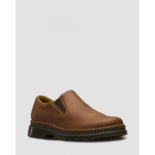 Black Friday Sale Dr. Martens BOYLE MEN'S GRIZZLY LEATHER SLIP ON SHOES - TAN GRIZZLY