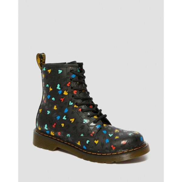 Dr.Martens YOUTH 1460 LEATHER HEART PRINT LACE UP BOOTS - BLACK-MULTI HYDRO LEATHER - Sale
