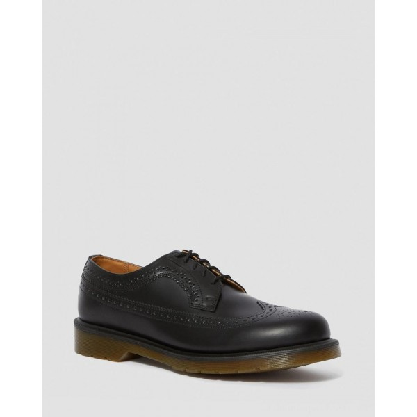 3989 SMOOTH LEATHER BROGUE SHOES - BLACK SMOOTH