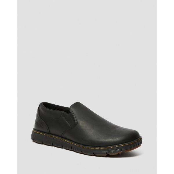 Dr.Martens RHODES MEN'S LEATHER CASUAL SLIP ON SHOES - BLACK BERKLEY - Sale