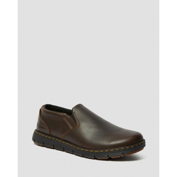 RHODES MEN'S LEATHER CASUAL SLIP ON SHOES - BROWN BERKLEY