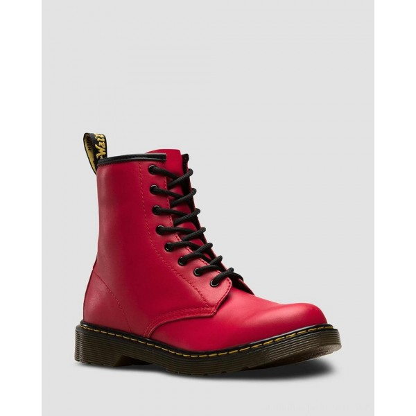 YOUTH 1460 LEATHER LACE UP BOOTS - RED ROMARIO