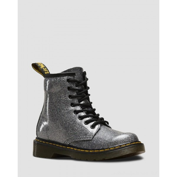 Dr.Martens JUNIOR 1460 GLITTER LACE UP BOOTS - GUNMETAL COATED GLITTER - Sale