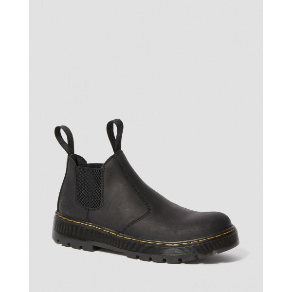 HARDIE CONNECTION LEATHER CHELSEA WORK BOOTS - BLACK CONNECTION