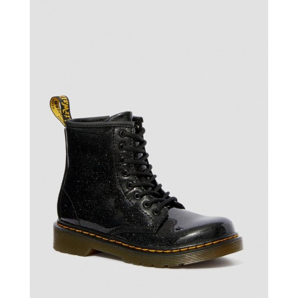 Dr.Martens JUNIOR 1460 GLITTER LACE UP BOOTS - BLACK COATED GLITTER - Sale