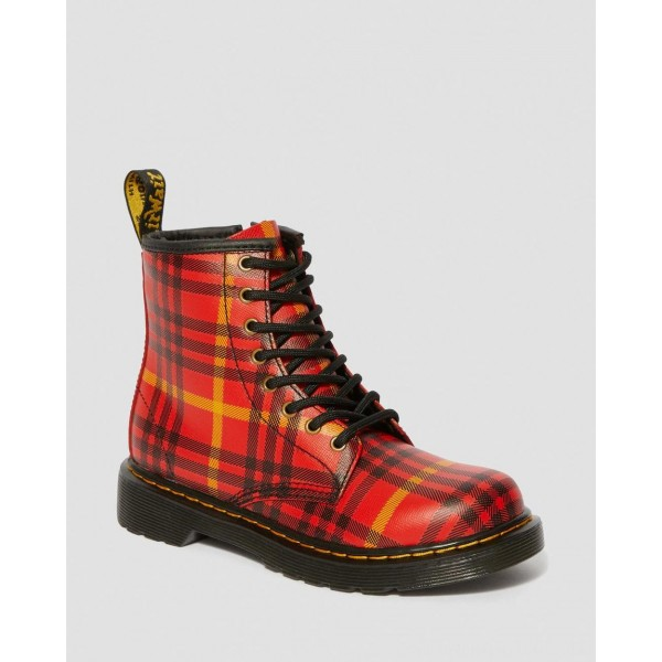 JUNIOR 1460 MCMARTEN TARTAN LEATHER BOOTS - RED-MULTI TARTAN BACKHAND STRAW GRAIN