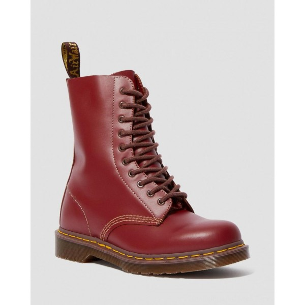 Dr.Martens 1490 VINTAGE MADE IN ENGLAND MID CALF BOOTS - OXBLOOD QUILON - Sale