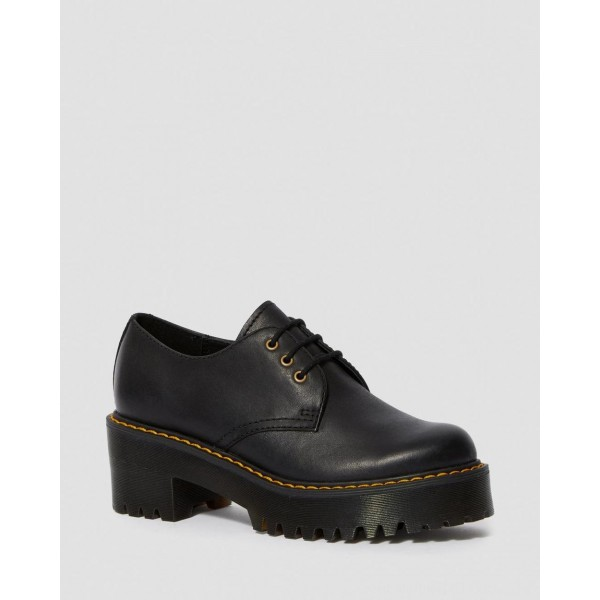 Black Friday Sale Dr. Martens SHRIVER LOW WOMEN'S WYOMING LEATHER HEELED SHOES - BLACK WYOMING