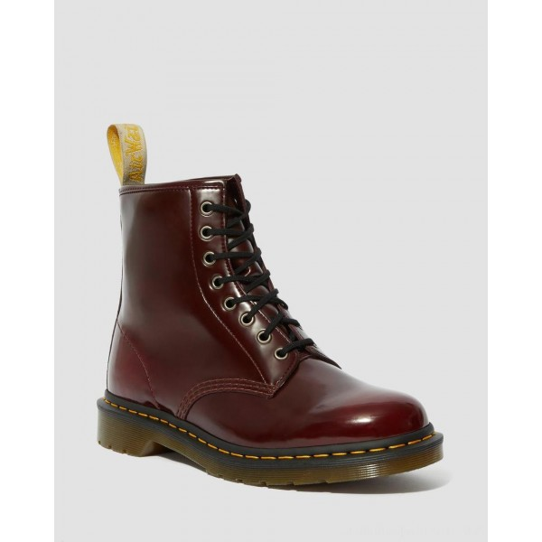 Dr.Martens VEGAN 1460 LACE UP BOOTS - CHERRY RED OXFORD RUB OFF - Sale